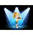 A stage with a young girl playing with her violin vector