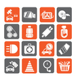 Silhouette car parts and services icons vector
