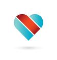 Heart and ribbon symbol logo icon vector