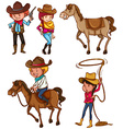 Male and female cowboys vector