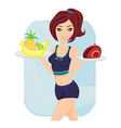 Young woman with fruits and cake vector