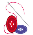 Needle with red thread vector