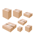 White labels on blank brown cardboard boxes vector