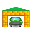 Green car in garage vector