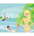 Girls and tropical pool vector