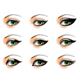 Nine different eyeliners set vector
