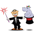 Magician with hippo vector