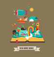 Open book with fairy tale elements and icons vector