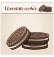 Chocolate cookie detailed icon series of food and vector