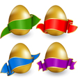 Collection easter egg with ribbon of different col vector