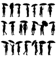 Set of black silhouettes of men and women with vector