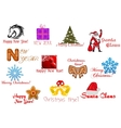 Headlines and icons for christmas holiday vector