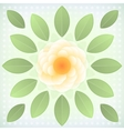 Abstract yellow flower with green leaves vector