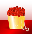 Bag gift and roses vector