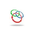 Three circles arrows loop logo cycles three vector