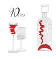 Bottle with two glasses vector