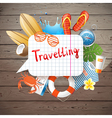Wooden background about travelling vector