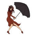 Young woman holding an umbrella against the wind vector