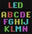 Led display alphabet vector
