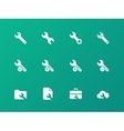 Repair wrench icons on green background vector