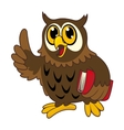 Cartoon owl bird with book vector
