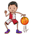 An energetic basketball player vector
