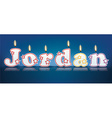 Jordan written with burning candles vector
