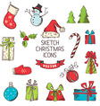 Sketch christmas icons vector
