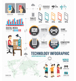 Infographic technology digital template design vector