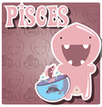 Zodiac sign pisces with cute colorful monster vector