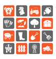 Silhouette agriculture and farming icons vector