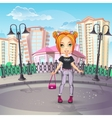 City promenade with a teen girl in jeans vector