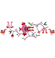 Abstract floral branch with bird vector