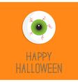 Eyeball bloody streaks happy halloween card flat vector