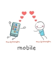 A man in love with mobile vector