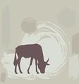 Wildebeest silhouette on grunge background vector