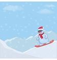 Snowman snowboarding vector