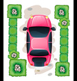 A topview of the parked pink car vector