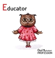 Alphabet professions owl educator character on a vector