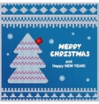 Red knitted christmas pine tree label vector