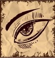 Sketch eye isolated on vintage background vector