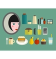 Set of cosmetics and food for the girl vector