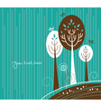 Cartoon background with flowers and bird vector