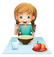 A girl eating her breakfast vector