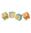 Word life written with alphabet blocks vector