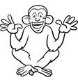 Chimpanzee ape cartoon coloring page vector