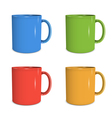 Four mugs of various colors vector