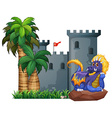 Dragon and a castle vector