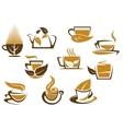 Herbal tea symbols and emblems vector