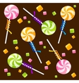 Candy lollipops background pattern vector